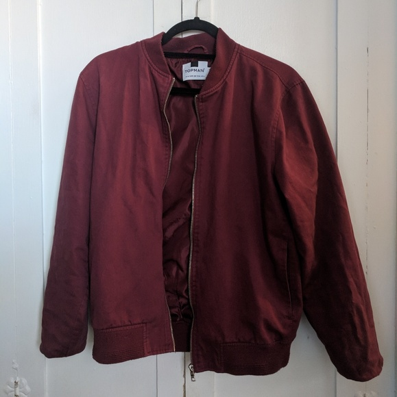 Topman Burgundy Harrington Jacket